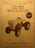Sears Custom 6 Garden Tractor, Engine, Implements Owner & Parts (7 Manuals) 88pg
