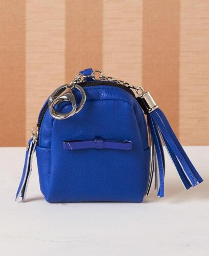 COINS MINI BACKPACK KEYCHAIN: COMPACT CLIPS ON: BLUE HOLDS ID CREDIT CATDS