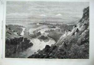 Old-Antique-Print-1870-Junction-Three-Tributaries-Missouri-River-Mountain-19th