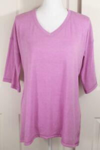 Soft-Surroundings-Pink-Asymmetrical-V-Neck-T-Shirt-Top-Blouse-Sz-S