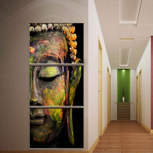 3er-Set Buddha Ölgemälde Leinwand Wandbilder Bilder Dekoration