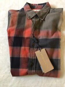 New-Authentic-Burberry-Nova-Check-Plaid-Red-Olive-Haymarket-Men-Shirt-S