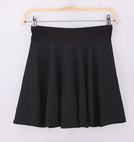 Womens Solid Stretch  High Waist Plain Pleated Flared Skater  Mini Skirt US SHIP