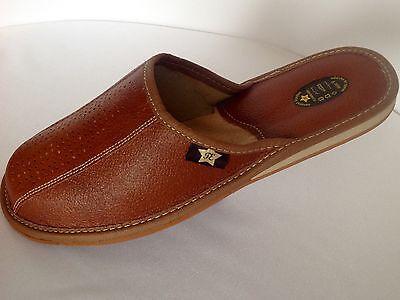NUEVO Negro Pantuflas Hombres Zapatos Cuero Marrón Sandalias Talla 7 8 9 10 11