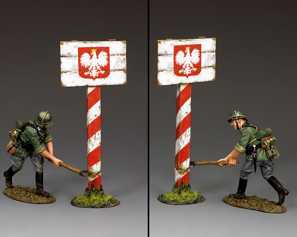 KING & COUNTRY WW2 GERMAN ARMY WH086 CUTTING DOWN THE POLISH ROAD SIGN MIB