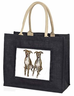 WHIPPET Hunde große schwarze Einkaufstasche Weihnachten Geschenkidee, ad-wh91blb