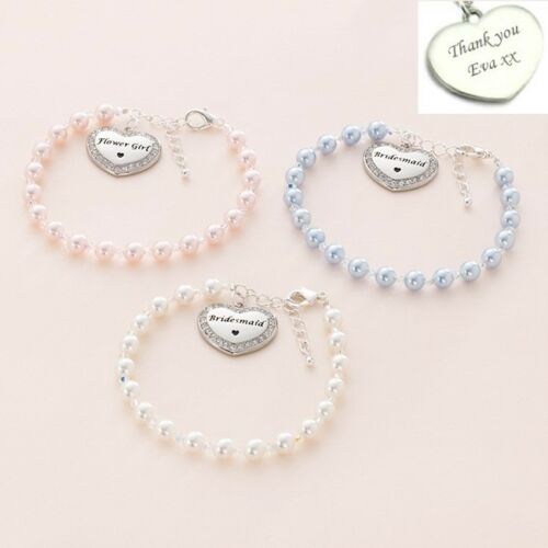 Personalised Bracelet for Bridesmaid or Flower Girl. Engraved Thank You Gifts
