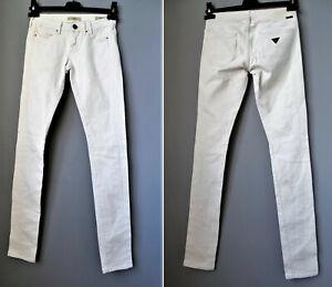 GUESS-jeans-bianco-avorio-LOS-ANGELES-1981-skinny-donna-38-size-24-CURVE-X-denim