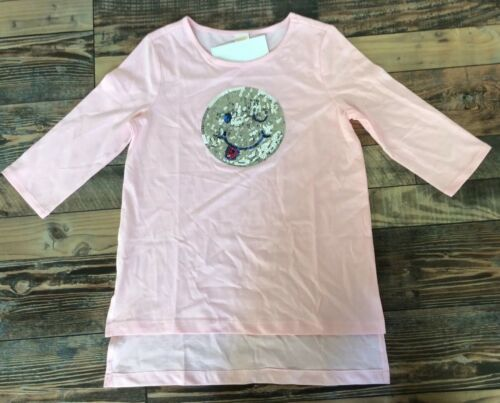 Gymboree Nwt Girls Pink Smiley Face Sequin Tunic Shirt L 10 12