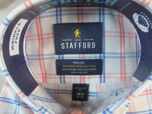 NWT STAFFORD WRINKLE FREE STRETCH OXFORD Reg Fit  DRESS SHIRT Coral Dbl Window