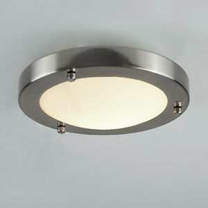 Bathroom Ceiling Light Zone 1 modern ip44 silver chrome glass flush mini bathroom ceiling light
