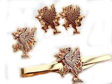 Royal Welch Fusiliers Rampant Dragon Cufflinks, Badge, Tie Clip Gift Set RWF