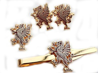 Royal Welsh Fusiliers Gift Set Cufflinks Lapel Badge Tie Clip standing dragon