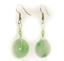 Nephrite-Jade-Donut-Hang-Earrings-Stainless-Steel-Good-Luck-Health-Wealth-Hasppy thumbnail 1