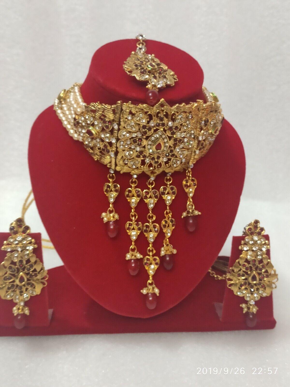 Indian Bollywood Style Jadau Wedding Gold Fashion Pearl Jewelry Necklace Set