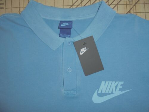 NWT MENS 2XLARGE STEEL BLUE NIKE PRE-WASHED COTTON POLO SHIRT