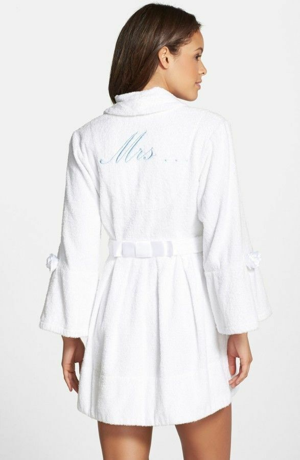 Betsey Johnson White Bridal Loop Terry Robe honeymoon lounge coat I DO MRS L NEW