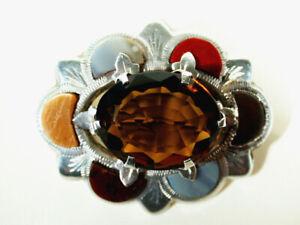 Details zu Viktorianische Silber Citrin Achat BROSCHE ° England 1870 ° Biedermeier Brosche