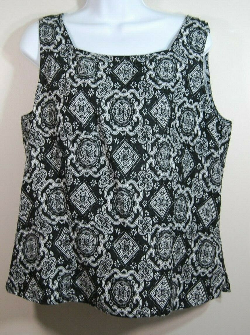 Woman's Black Linen Sleeveless Top Size 14 Charter Club Buttons Up Back