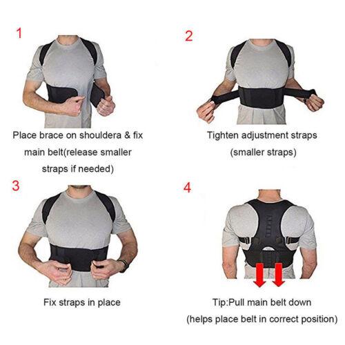 Posture Corrector Support Magnetic Back Shoulder Brace Belt For Men WomenHQ