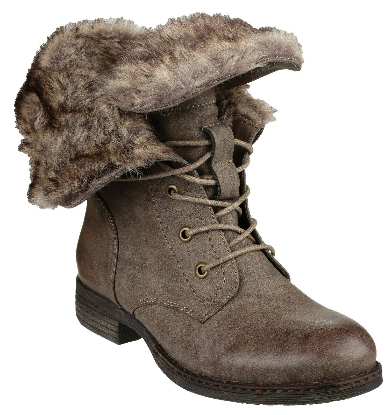 Divaz Leigh Ankle Lace Up Damenschuhe Braun Fashion Stiefel Schuhes UK3-8