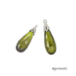 1PC-Sterling-Silver-Olive-Green-CZ-Teardrop-Pendant-Earring-Charm-Bead-51550
