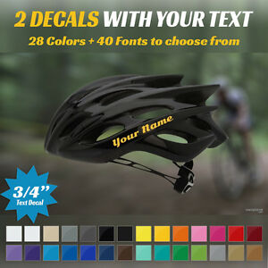 """2 CUSTOM 3/4"""" TEXT DECALS - YOUR NAME - FOR BIKE HELMET - TWO 3/4"""" TALL STICKERS"""