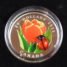 **2011** Tulip With Ladybug, RCM Proof Silver $20 Dollar Coin