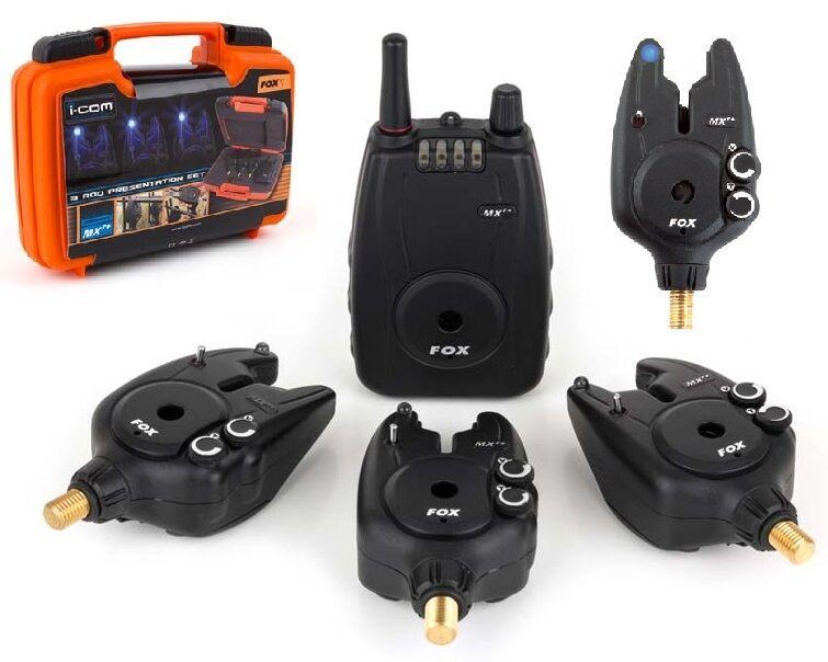 FOX Micron MXR Plus Blu   allarmi & Ricevitore Set   4 Rod   Pesca Carpa