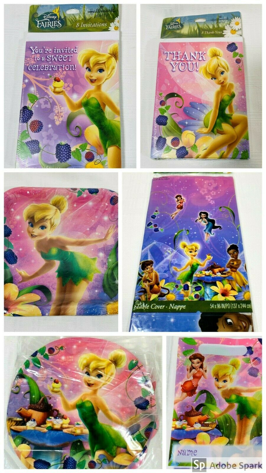 Hallmark Disney Fairies Tinker Bell Party Table Cover Tablecovers