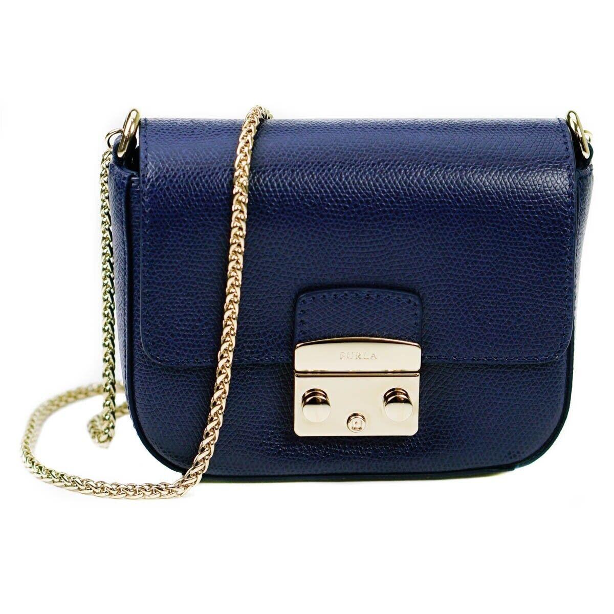 free shipping professional sale where can i buy Furla Metropolis Mini Crossbody Ladies Handbag Blue Leather Fashion  Accessory