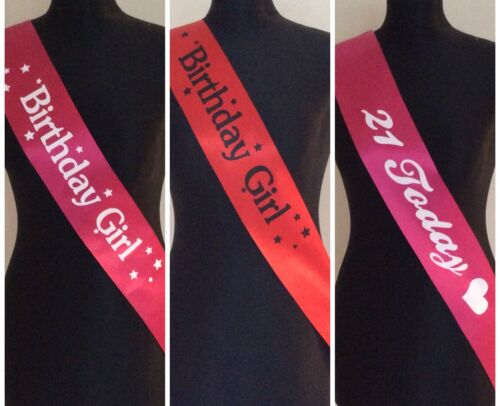 Birthday Girl Party Sashes Red & Pink Multi Buy Selection Classy Style Embossed