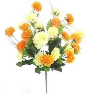 Artificial silk flowers chrysanthemum bush orange cream ebay image is loading artificial silk flowers chrysanthemum bush orange cream mightylinksfo