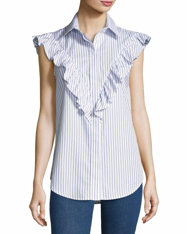 N nicholas Striped Frill-Yoke Shirt, Navy Größe 4