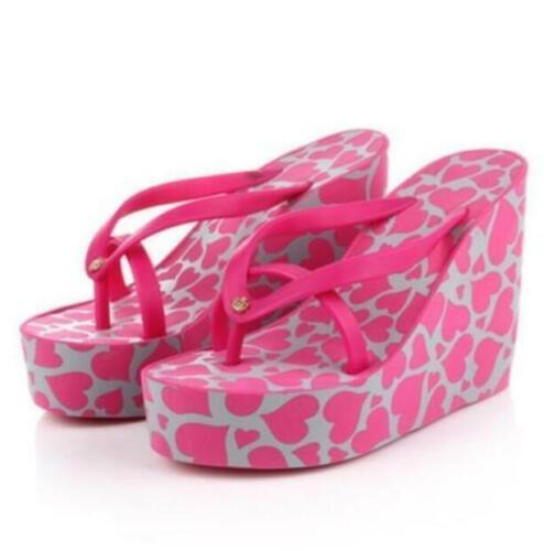 Women Flip flops Wedge Slippers Summer Beach 11cm High Heels Thong Sandals #216