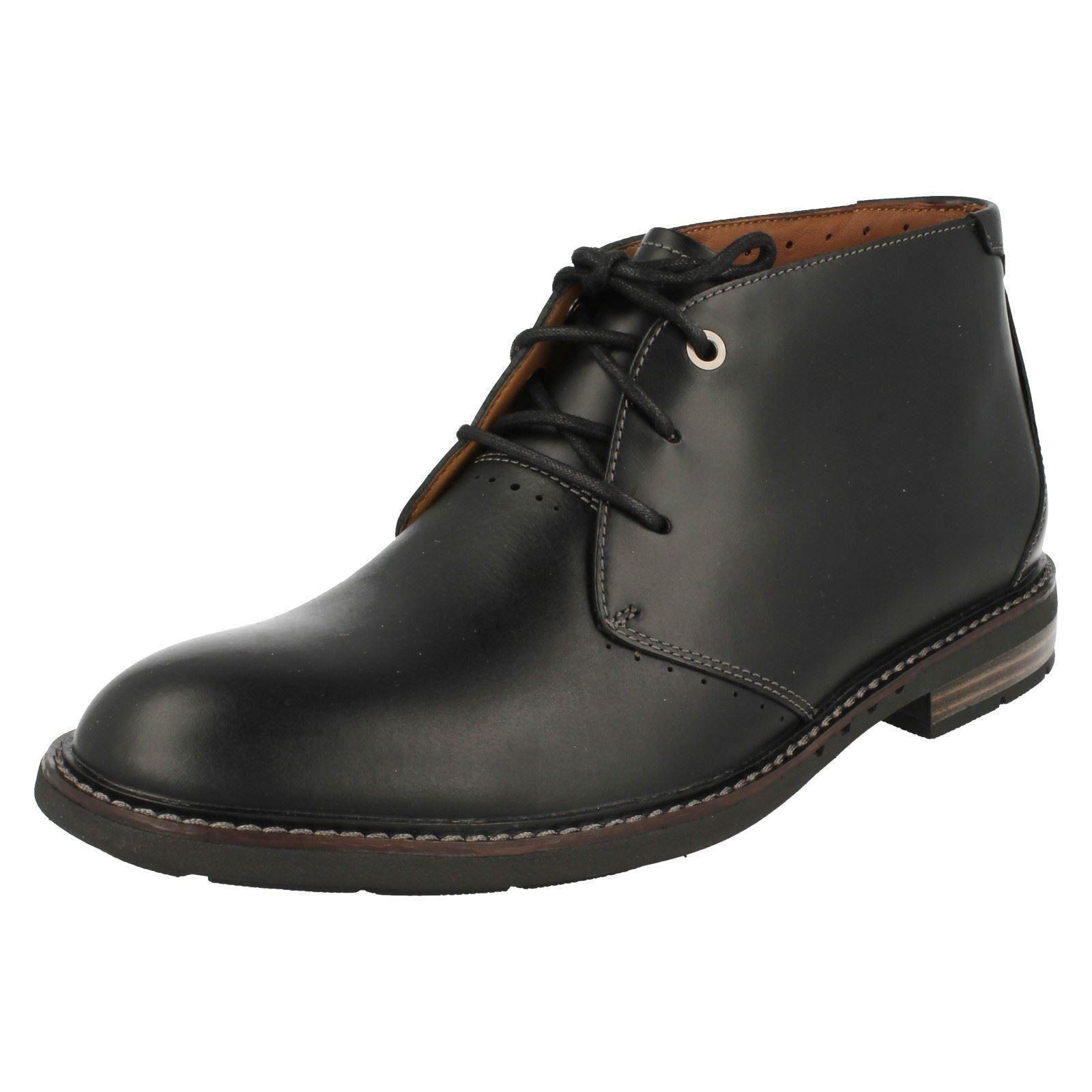 Herren Clarks unstrukturiert unelott Mid Mid Mid Leder Schnürbar Stiefel 92ec68