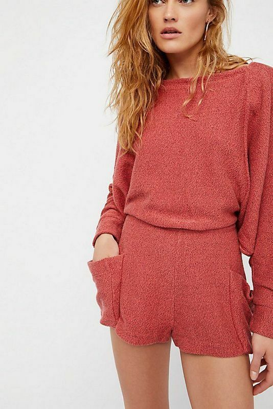 Free People NWT Size Small Tumbledown Romper  Washed Red NEW