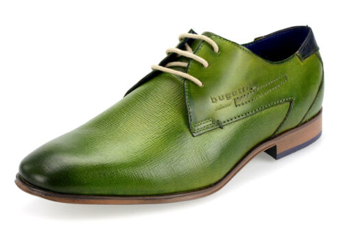 Bugatti Hommes Chaussures Basses Véritable Cuir Business-Chaussures Suede 10108 Vert