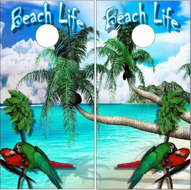 TROPICAL BEACH W// PARROT SCENE CORNHOLE WRAP WRAPS SET Vinyl Board DECAL V1//V1