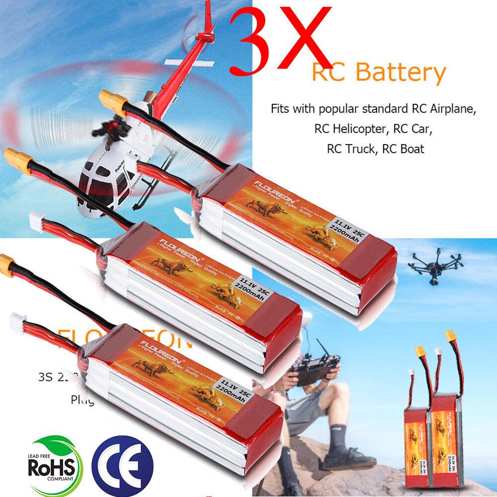 3x 3s LIPO BATTERIA  11.1v 2200mah 25c xt60 plug batteria per RC Auto 1053525mm  stanno facendo attività di sconto