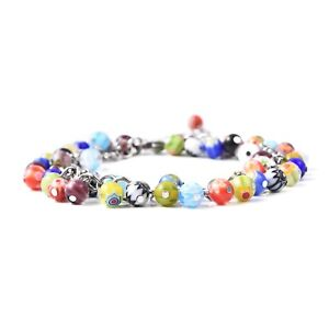 Multi Color Millefiori Glass Steel Anklet Feet Women Jewelry For Gift 11'' 75tw