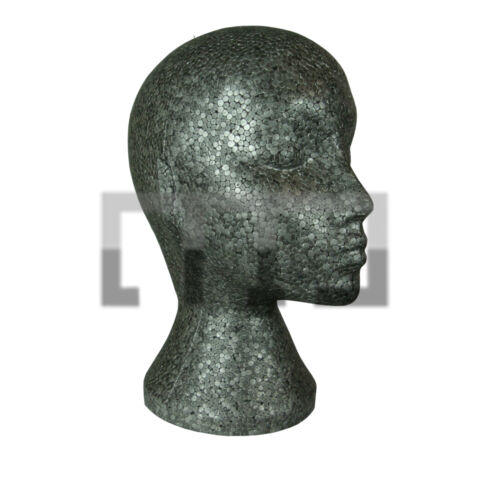 SCARFS HATS, BLACK FEMALE POLYSTYRENE MANNEQUIN DISPLAY HEAD IDEAL FOR WIGS