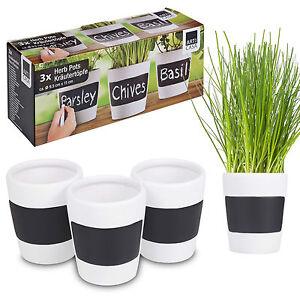 3 x Ceramic Herb Plant Pots + Chalk Board Home Kitchen Garden ...