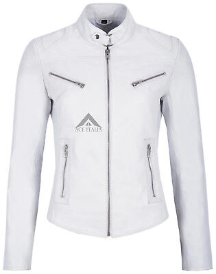 New /'SPEED/' Ladies Grey Retro Biker Style Fitted Motorcycle Leather Jacket SR-01