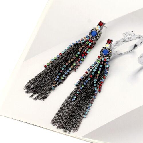 Rings` Ears Clip on Silver Pompom Long Fine Multicolored Blue Retro C9