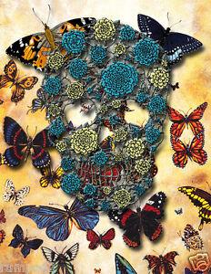 Skull//Butterflies// Poster//Print//Skeleton//The Rapture//Flowered Skull //17x22 in