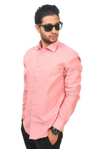 New Mens Dress Shirt Solid Coral Tailored Slim Fit Wrinkle Free Cotton AZAR MAN
