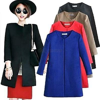 New Women Wool Blend Warm Long Winter Parka Coat Trench Slim Outwear Jacket Hot!