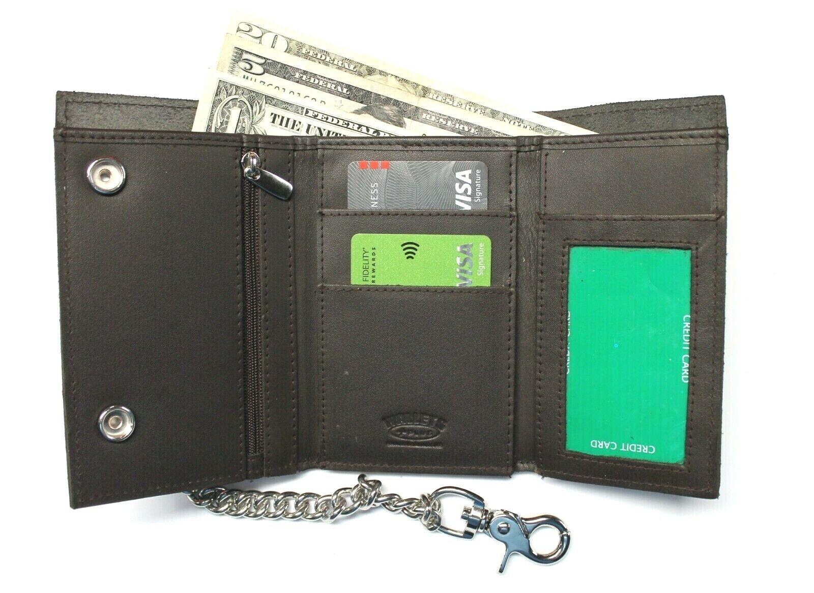 Premium Leather Trifold Biker Wallet with Chain - XL - Dark Brown