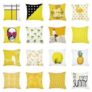 New-Simple-Yellow-Pillow-Case-Sofa-Car-Waist-Throw-Cushion-Cover-Home-Decor